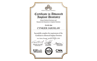 Certificate in Advanced Implant Dentistry Jarosław Cynkier, Lizbona 2016
