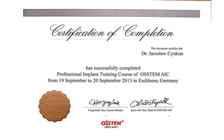 Professional Implant Training Course of Osstem AIC dr. Jarosław Cynkier, Eschborn 2013