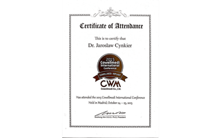 Certificate of Attendance: Cowellmedi Implant International Conference dr Jaroslaw Cynkier, Madrid 2015